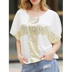 Leisure Cross Sequins Decor Low Round Neck Loose Women's T-shirt Cotton