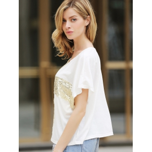 Loisirs Cross Paillettes Decor Low Round Neck Loose Women  's T-shirt en coton - Blanc M
