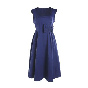 Bowknot Embellished Vintage A Line Dress - BLUE 3XL