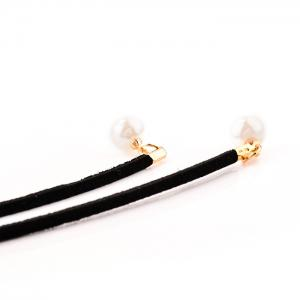 Faux Pearl Embellished Wrap Necklace - BLACK