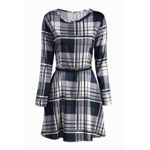 Sweet Long Sleeve Plaid Printed Belted Mini Dress For Women