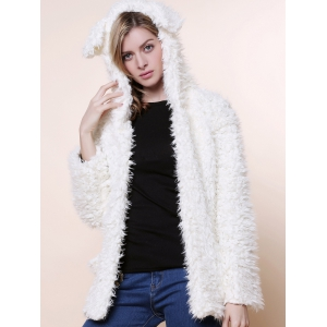 Cute Bear Ear Design Hooded Long Sleeves Women's White Faux Fleece Coat - White - M