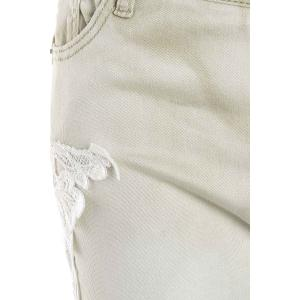 Pockets Lace Insert Skinny Jeans - LIGHT APRICOT S