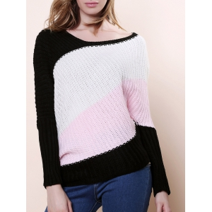 Sweet Style Scoop Neck Batwing Sleeve Color Stripe Knitting Women's Sweater - Pink - One Size