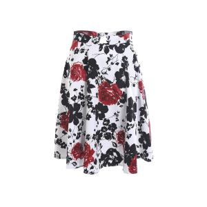 Vintage Style High-Waisted Floral Print A-Line Women's Skirt -