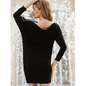 Charming Boat Neck Solid Color Zipper Embellished Long Sleeve Cotton Blend Women's T-Shirt - BLACK ONE SIZE