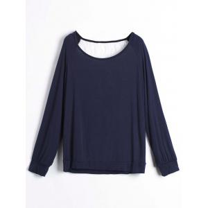 Sweet Hollow Out Lace Spliced Long Sleeve Pullover Sweatshirt For Women - Purplish Blue - Xl