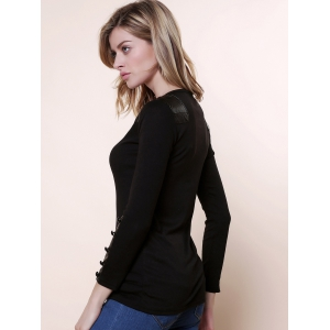 Graceful Scoop Neck Long Sleeves PU Leather Embellished Women's Slimming Fit Knitwear - BLACK ONE SIZE