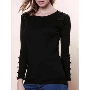 Graceful Scoop Neck Long Sleeves PU Leather Embellished Women's Slimming Fit Knitwear - Black - One Size