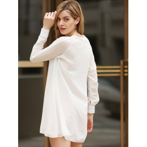 Flounce Long Sleeve Chiffon Shift Dress -