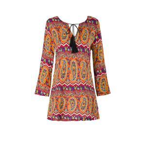 Ethnic V-Neck 3/4 Sleeve Fringed Paisley Dress For Women - Orange - S