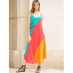 Striped Irregular Hem Ranibow Maxi Dress With Belt -