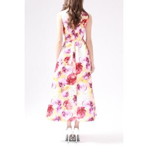 V Neck Rose Print Hollow Out Maxi Dress -