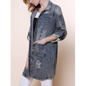 Vintage Turn-Down Collar Long Sleeve Hole Design Denim Women's Coat - Blue - S