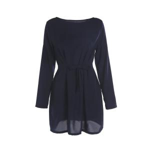 Brief Round Collar Long Sleeve Purplish Blue Self-Tie Women's Dress
