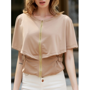 Stylish Round Neck 1/2 Sleeve Solid Color Zippered Slimming Women's Jacket