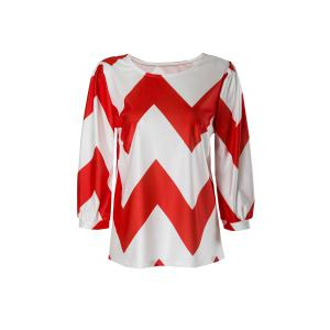Trendy Boat Neck Chevron Printed 3/4 Sleeve Loose Blouse For Women