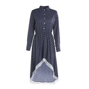 Long Sleeve Polka Dot Asymmetrical High Low Dress