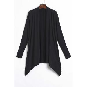 Casual Solid Color Shining Sequin Spliced Long Sleeve Cardigan For Women - Black - S