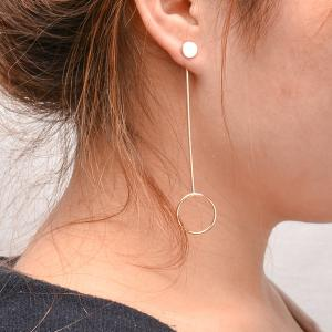 Bar Circle Long Earrings - GOLDEN