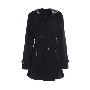 Stylish Hooded Double-Breasted Long Sleeve Worsted Coat For Women - Black - S