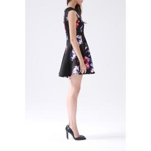 V Neck Rose Print A Line Dress -