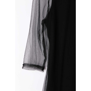 Col rond See-Through 3/4 T-shirt sexy manches pour les femmes -