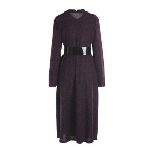Vintage Turn-Down Collar Long Sleeve A-Line Dress For Women - PURPLE M