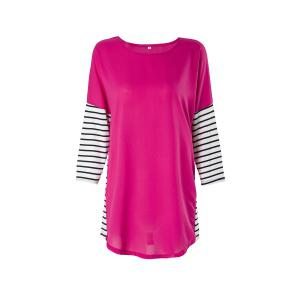 Fashionable Jewel Neck 3/4 Sleeve Striped Spliced T-Shirt For Women - Rose - Xl