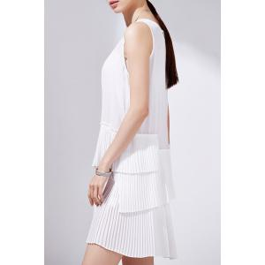 Solid Color Pleated Layered Sleeveless Dress -