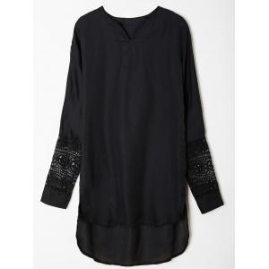 Casual V-Neck Long Sleeve Lace Spliced Asymmetrical Women's Dress