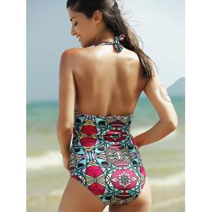 Cut Out Print Halter One Piece Swimsuit -