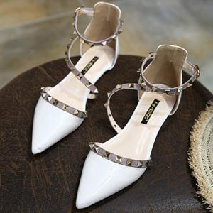 Stylish Hit Colour and Rivets Design Flat Shoes For Women - WHITE 38