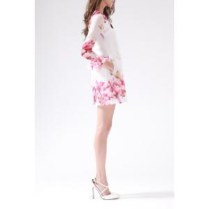 Rose Print Organza Long Sleeve Dress -