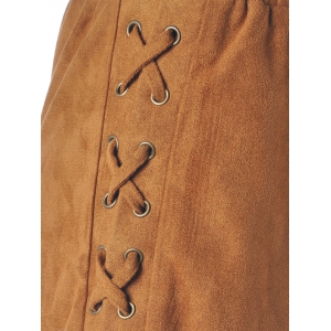 Women's Chic Lace-Up Pure Color Shorts - CAMEL S