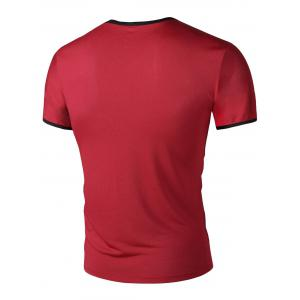 Round Neck Letter Print  Solid Color Short Sleeves T-Shirt For Men -