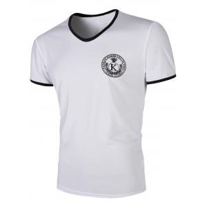 Round Neck Letter Print  Solid Color Short Sleeves T-Shirt For Men