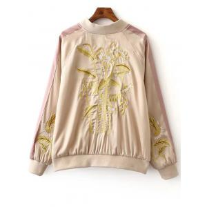Stylish Stand Neck Long Sleeves Floral Embroidery Women's Jacket -