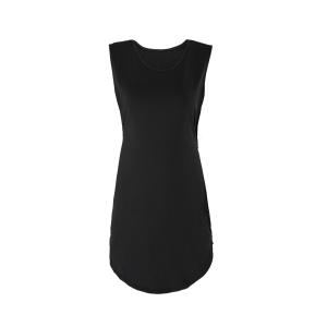 Sexy Round Collar Black Cut Out Sleeveless Dress For Women - Black - M