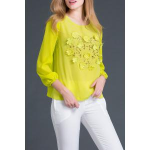 Round Collar Long Sleeve Embroidery T-Shirt -