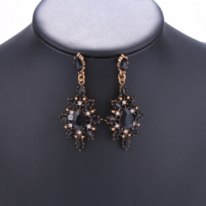 Pair of Vintage Rhinestone Embellished Water Drop Earrings -