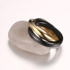 Cool Polished Tricyclic Finger Ring - GOLDEN