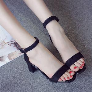 Vintage Ankle Strap and Chunky Heel Design Sandals For Women -