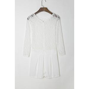 Stylish Round Neck See-Through Lace Spliced Long Sleeve Romper For Women - WHITE M