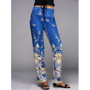 Paisley Pattern Wide Leg Exumas Pants - DEEP BLUE S