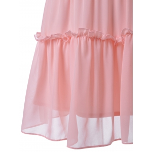 Fitted Ruffle Neck Sleeveless Knee-Length Dress - LIGHT PINK S