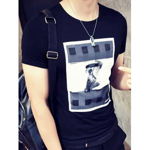 Stylish Men's Round Neck Man in The Rain Printed Short Sleeve T-Shirt -