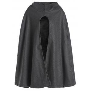 Noble Hooded Solid Color High Slit Loose Cloak For Women