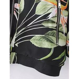 Stylish Stand Neck Long Sleeve Tropical Print Women's Jacket -