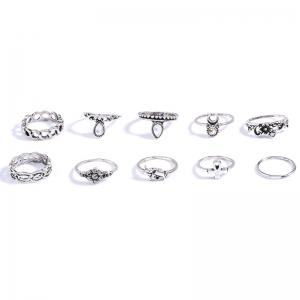 Retro 10 Pcs/Set Rhinestone Carving Elephant Flower Rings